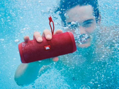 A splashproof portable Bluetooth speaker for messy college events that call for music