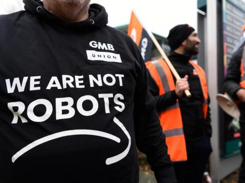 Protesters outside Amazon's warehouse in Milton Keynes, UK.