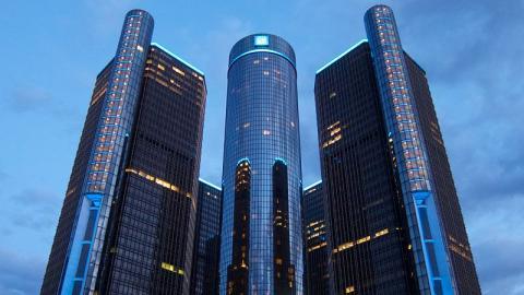 Renaissance Center, la sede central de General Motors, en Detroit (EE.UU.)
