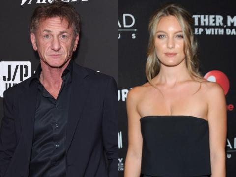 Sean Penn en 2018 y Leila George en 2016.