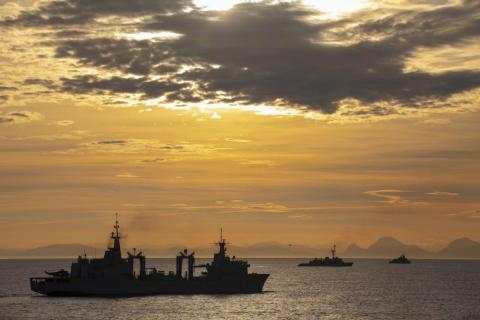 Ships take part in a photo exercise in the Norwegian Sea as part of NATO's exercise Trident Juncture, November 7, 2018.