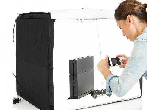 A tabletop photo studio