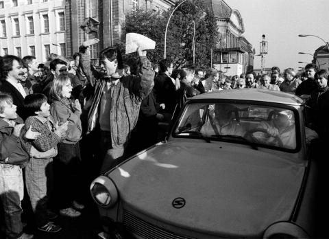There was plenty of celebration as West Berlin citizens welcomed East Germans as they passed the border checkpoint.