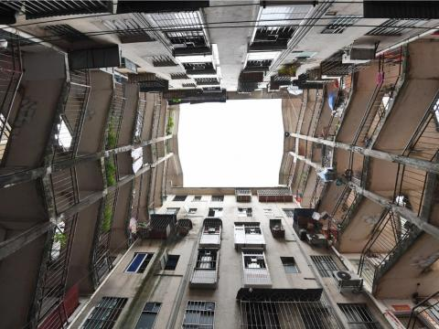 Two buildings share a stairwell at a residential area on October 11, 2018 in Nanning, Guangxi Zhuang Autonomous Region of China.
