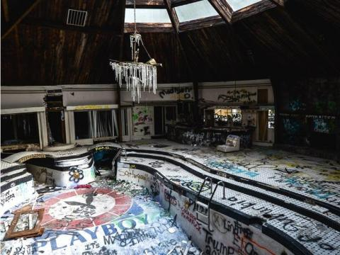 The unique structure felt into decay after Hull was arrested for tax evasion. The now-abandoned mansion is known for its Playboy bunny pool and its dramatic history.
