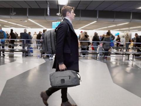 Webster says he's used the bags to store as much as two weeks' worth of luggage. He estimates he's saved hundreds of dollars in luggage fees — many airlines charge about $25 or more to check a bag.