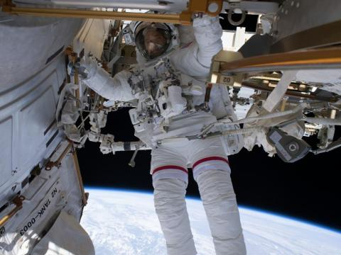 NASA astronaut Ricky Arnold is pictured during a spacewalk on June 14, 2018.