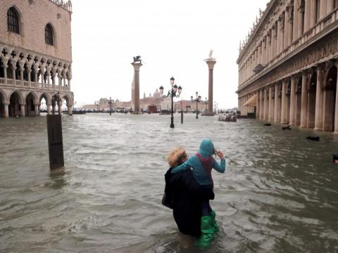 In addition to the flood of tourists, Venice is also plagued by literal floods.