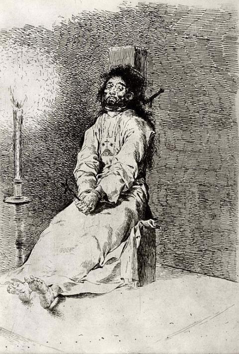 El agarrotado, un grabado de Francisco de Goya