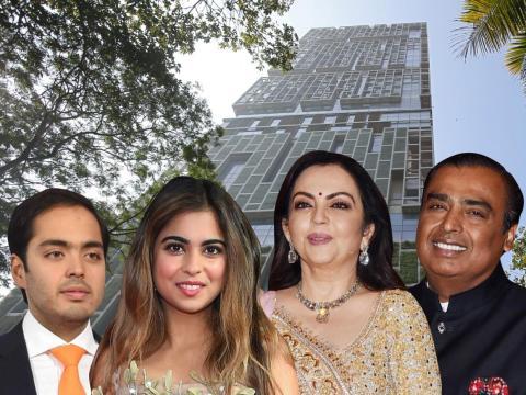 Los Ambanis viven en un rascacielos de mil millones de dólares en Mumbai.