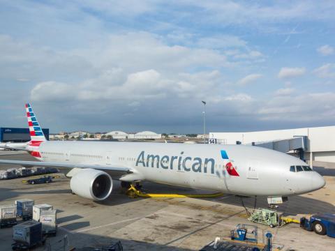 American Airlines Boeing 777 at New York JFK airport before boarding passengers.