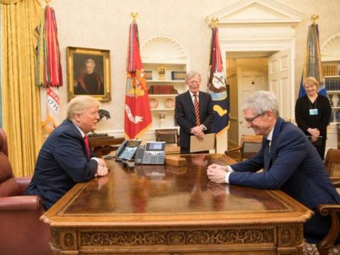 APRIL: Apple CEO Tim Cook sat down with Donald Trump.