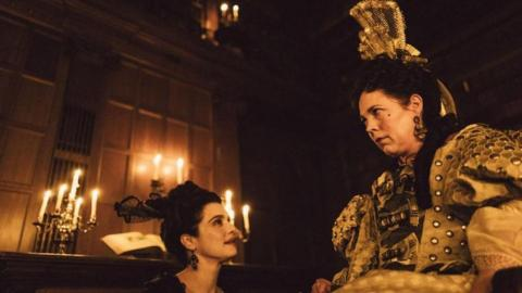 "(L-R) Rachel Weisz and Olivia Colman in ""The Favourite."""