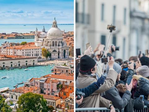 Between 26 million and 30 million tourists visit Venice each year.
