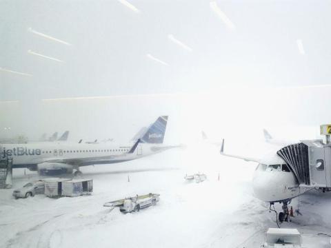 A bomb cyclone snowstorm shut down John F. Kennedy International Airport (January)