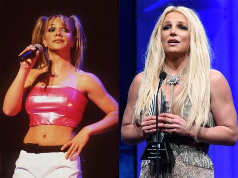 Britney Spears in 1999 and 2018.
