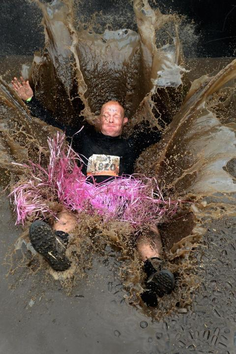 A competitor in Scotland's Tough Mudder race also made a splash.