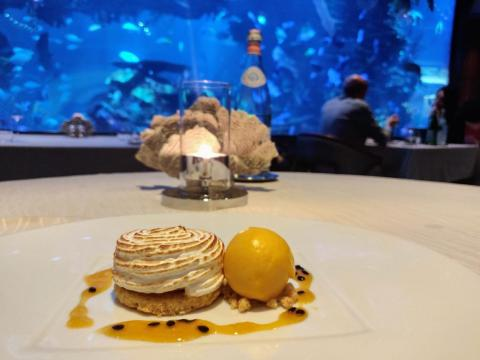 For dessert — I was so stuffed that I can't believe I even ordered it — I had the passionfruit baked Alaska with mango sorbet ($26). After the taste-bud overkill of the fried oysters and truffle-topped lobster, the mellow, sweet