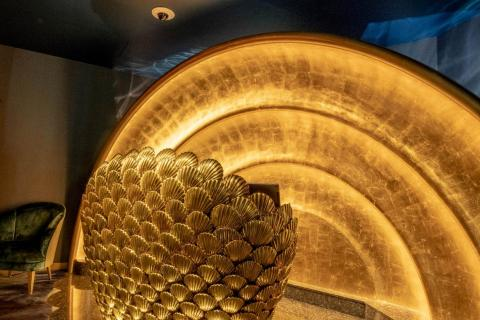 For dinner, I had a reservation at the Burj's flagship restaurant, Al Mahara. If it wasn't clear from the giant gold seashell that serves as the host stand, Al Mahara is all about seafood.