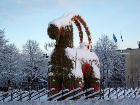 A giant straw yule goat in Gefle, Sweden.