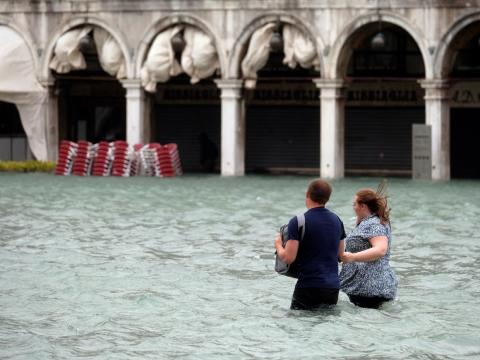 "Flooding season, or ""acqua alta"" — a period of particularly high tides in the Adriatic Sea — runs from autumn to spring in Venice."
