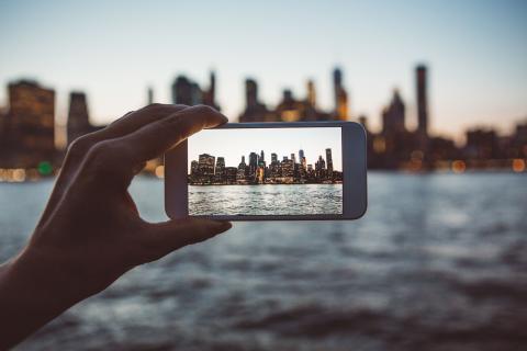 Foto con el móvil a Nueva York