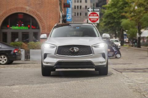 Up front, the QX50 is standard issue Infiniti complete with the corporate grille.