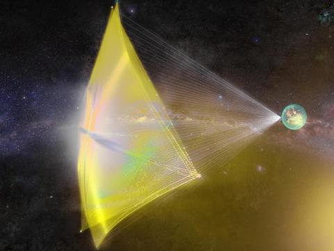 "An illustration of a Breakthrough Starshot ""nanocraft"" being propelled toward the Alpha Centauri star system with a powerful laser beam."