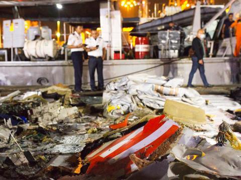Restos del Boeing 737 MAX estrellado.