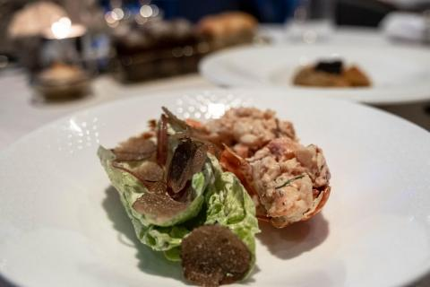 The lobster cocktail (295 AED or $80) was packed with fresh, tender lobster meat brushed with an herby crème fraîche sauce and accompanied by a few leaves of Baby Gem lettuce that were topped with ... black truffle. Dishes like