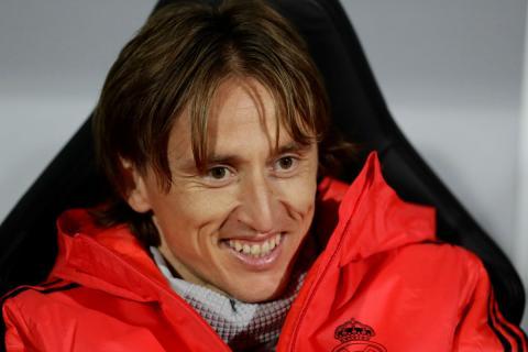 Luka Modric, en el banquillo del Real Madrid