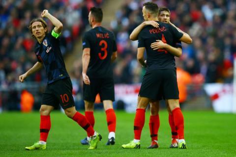 Luka Modric celebra un gol con Croacia