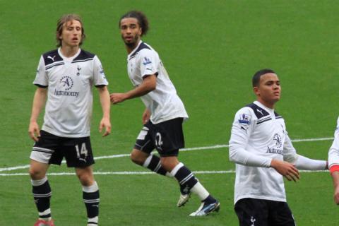 Luka Modric (izquierda), durante un partido con el Tottenham