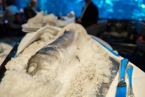 The main courses find the pared-back footing. The salt-baked whole sea bass (980 AED, or $266) is both simple and theatrical, arriving encased in salt and filleted table-side. The fish is as fresh and tender as you'd expect from a