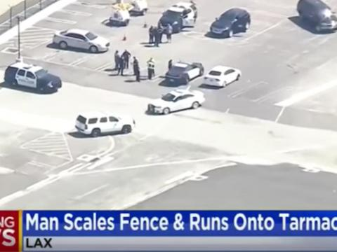 A man was arrested after he jumped the fence at LAX and started doing push-ups on the runway (August)