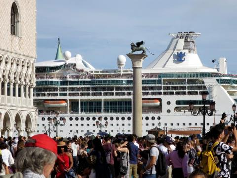 Many of Venice's tourists come to the city by way of massive cruise ships.
