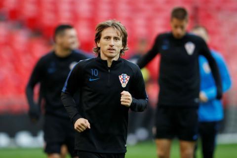 Modric, durante un entrenamiento con Croacia