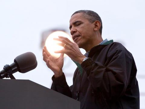 Obama also appeared to be holding a glowing orb on a campaign stop in 2012 (it was just a stage light).