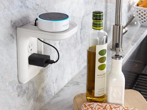 This outlet shelf is perfect for Amazon Echo devices, but it'll work for anything under 10 lbs.