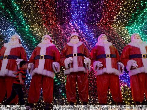 Papás Noel en Filipinas.