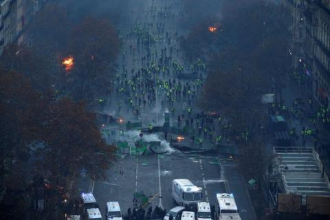 Protesters and the police faced off on Paris' streets.