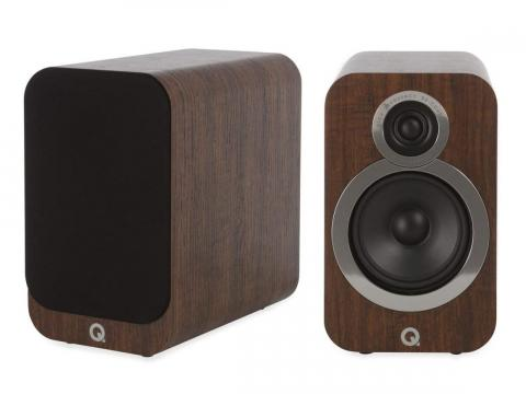 Q Acoustics 3020i Bookshelf Speakers in English Walnut, $255