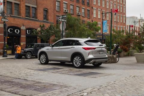 The QX50's all-wheel-drive system and 8.6 inches of ground clearance puts it on par with other crossovers in the segment.