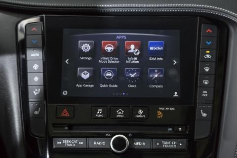 ... A seven-inch lower touchscreen that houses the climate controls, entertainment functions, and various apps. This is the low-point of our experience with the QX50's cabin.