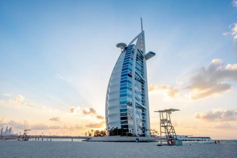 Shaped like the sail of an Arabian dhow ship and built for $1 billion, the Burj Al Arab in Dubai has been described as the world's first seven-star hotel and the most luxurious hotel in the world.