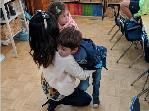 "She says goodbye to her children and then continues her commute to the Google campus in Mountain View. ""I'm lucky Hudson still likes giving me hugs,"" Rincon said."