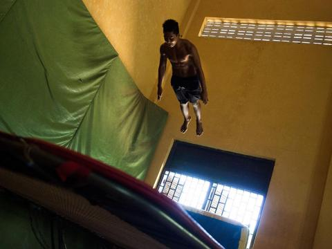 There's a trampoline room with a 20-foot ceiling.