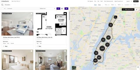 Vista de la web inmobiliaria Compass.