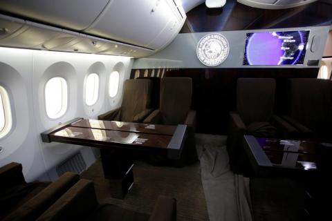 You won't find traditional airline seats here. Instead, the interior has been designed for work and relaxation.