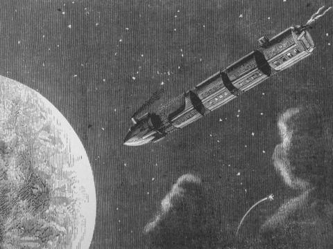 """Una ilustración de un tren proyectil que viaja a la luna de la novela de ciencia ficción del siglo XIX de Julio Verne """"De la Tierra a la Luna""""."""